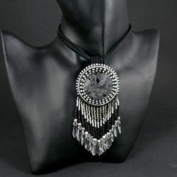 wisior,elegancki,czarny,srebrny,duży - Wisiory - Biżuteria