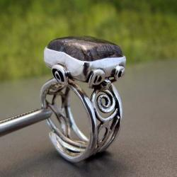 pierścionek z kwarcem turmalinowym - Pierścionki - Biżuteria