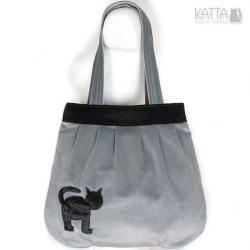 kocia torba,szary aksamit,grey bag,czarny kot - Na ramię - Torebki