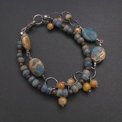 bransoletka,etniczna,brzęcząca,waryscyt,kyanit - Bransoletki - Biżuteria