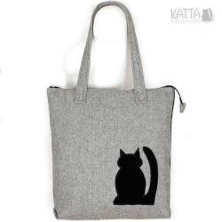 kocia torba,szara wełna,do szkoły,z czarnym kotem - Na ramię - Torebki