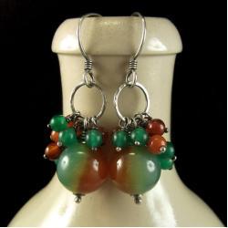 kolczyki,agat,pomarańczowy,zielony,kwarc - Kolczyki - Biżuteria