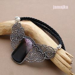 pleciony,agat,minerał,ażur,sznurek - Naszyjniki - Biżuteria