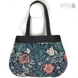 czarn torba,z alkantary,magiczny wzór,w kwiaty - Na ramię - Torebki