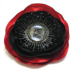 broszka,kwiat,mak,misterny,pręciki,satyna - Broszki - Biżuteria