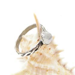 pierścionek,srebro,delikatny,kamień księżycowy - Pierścionki - Biżuteria