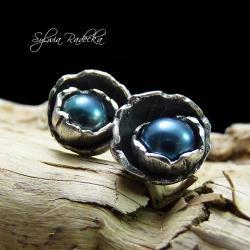 wkrętki,oksydowane,srebrne,perłowe,Art Clay - Kolczyki - Biżuteria