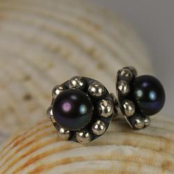 kolczyki,perła,srebrne,retro - Kolczyki - Biżuteria
