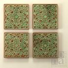 Ceramika i szkło dekory,kafle,ornament,zielony,ceramika
