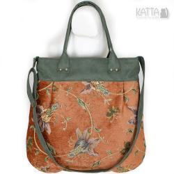 w stylu retro,zielony zamsz,kwiaty,żakard,baśniowa - Na ramię - Torebki