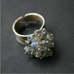 srebro,szary,labradoryt,pierścionek,oksydowany,fad - Pierścionki - Biżuteria