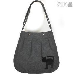 kocia torba,grafitowa,wełniana,czarny kotek - Na ramię - Torebki