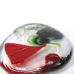 Przycsk do papieru,zielono-czerwony,szkło - Ceramika i szkło - Wyposażenie wnętrz