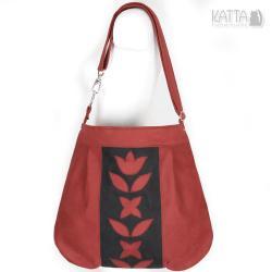 red bag,czerwona torba,bordowy zamsz,na skos - Na ramię - Torebki