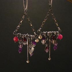 kolczyki,awangarowe,etno,oryginalne,fioletowe - Kolczyki - Biżuteria