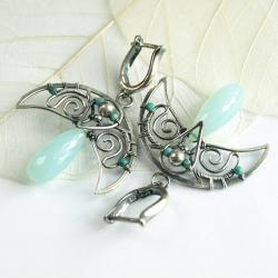 baśniowe,srebrne kolczyki z turkusem i chalcedonem - Kolczyki - Biżuteria