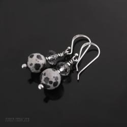 jaspis dalmatyńczyk,kryształ swaroovskiego,srebro - Kolczyki - Biżuteria