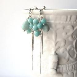 długie,romantyczne,błękitne,jasne,gronka - Kolczyki - Biżuteria