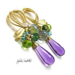 Pozłacane kolczyki z fioletowym Kwarcem - Kolczyki - Biżuteria
