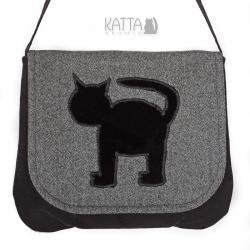kocia torba,szara,z kotem,jodełka, - Na ramię - Torebki