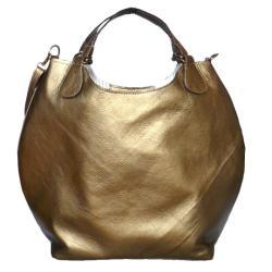 torebka,złota,skóra,naturalna,duża - Na ramię - Torebki