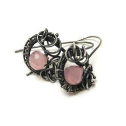 kolczyki,mini,wrapping,na codzień,różowe - Kolczyki - Biżuteria
