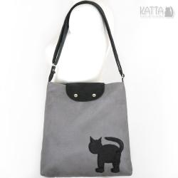 kocia torba,kot,na skos,cat bag,szary zamsz - Na ramię - Torebki