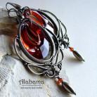 Kolczyki red sunset,efektowne,wire-wrapping,alabama