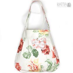 w kwiaty,na lato,flowers bag,jasna torba,worek - Na ramię - Torebki