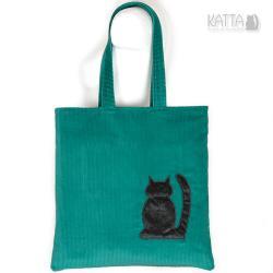 kocia torba,zielona,cat bag,kot,ze sztruksu,siatka - Na zakupy - Torebki
