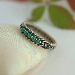 srebrna obrączka,wire-wrapping,z onyksem - Pierścionki - Biżuteria