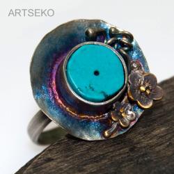 srebro,turkus,miedź - Pierścionki - Biżuteria