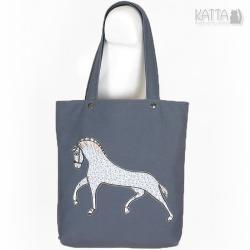 koń,szara torba,dla koniary,szara torba - Na ramię - Torebki