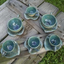 komplet unikatowych filiżanek,filiżanka,liść - Ceramika i szkło - Wyposażenie wnętrz