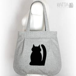 kocia torba,z kotem,czarny kot,szara torba - Na ramię - Torebki
