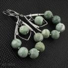 Kolczyki wire-wrapping,seledyn,opal,zielony opal,duże