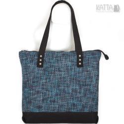 do pracy,klasyczna,niebieska torba,gruby splot - Na ramię - Torebki