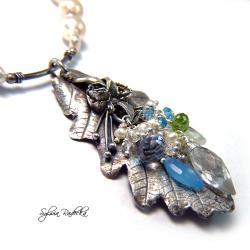 Naszyjnik z liściem dębu i perłą Akoya - Naszyjniki - Biżuteria