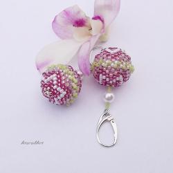 na uszy,srebrne,z koralików, - Kolczyki - Biżuteria