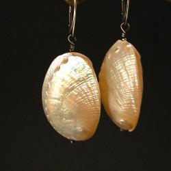 kolczyki,białe,muszla,perłowe,oksydowane - Kolczyki - Biżuteria