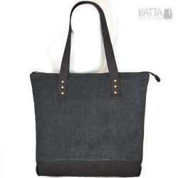 velvet bag,grafitowa,wzór jodełki,ciemna torba, - Na ramię - Torebki