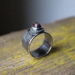 pierścionek srebro rubin unikat - Pierścionki - Biżuteria