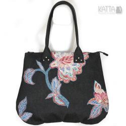 w kwiaty,denim,grafitowy,pojemna torba,romantic - Na ramię - Torebki