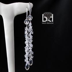 długie kolczyki ślubne z kryształami Swarovski - Kolczyki - Biżuteria