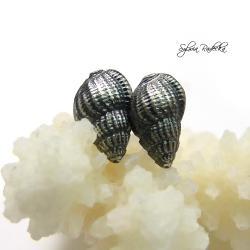Kolczyki srebrne muszelki. - Kolczyki - Biżuteria