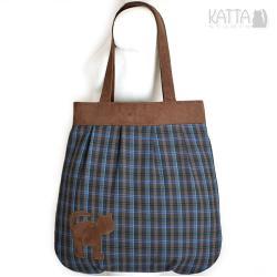 kocia torba,w kratę,pojemna,torba worek - Na ramię - Torebki