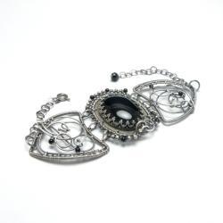 bransolet,awrappng,czarna,onysk,misterna - Bransoletki - Biżuteria