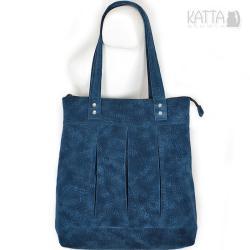 niebieski zamsz,oryginalna,blue bag,drapowana - Na ramię - Torebki