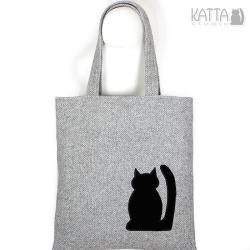 kocia torba,kot,czarny,szara torba,shopper bag - Na ramię - Torebki