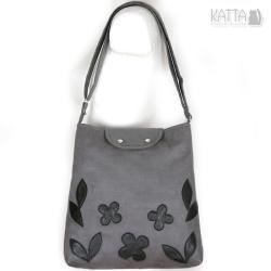 grey bag,zamszowa torebka,skórzane kwiaty,na skos - Na ramię - Torebki